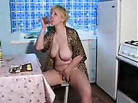Mature blonde mom is drunk and ready for wild sex in the kitchen