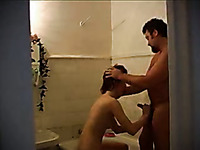 Chubby Russian dude bangs skinny brunette in the bathroom and in the bedroom