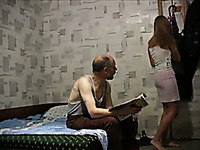 Bald Russian guy getting lucky with gorgeous blonde