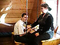 Fat and horny granny fucking my college friend in his room