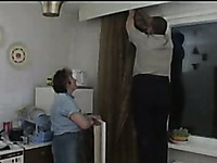 Russian chubby friend gets laid with his mature MILF on the kitchen