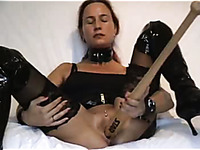 Only a baseball bat can satisfy my hungry mature pussy