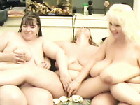 Two BBWs and my chubby wife masturbating in lesbian threesome