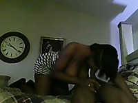 Curvaceous ebony wife gives blowjob and rides my dick