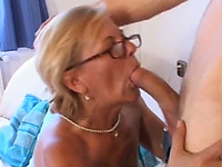 Blonde cougar with dirty old pussy loves sucking dick