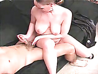Delicious blonde girl with big tits doesn't mind playing with a dick