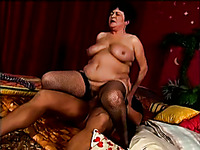 Dude with big brutal dick pounds this fat mature lady