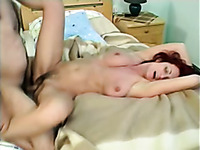 Dude banged this busty mature redhead missionary style and splashed cum on her pubes