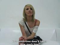 Skinny Czech hottie on the casting spreads her legs