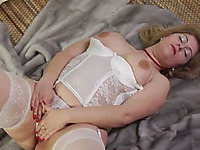 Nasty chunky blonde milf invites two men for the threesome