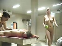 Public Russian bath is the paradise for voyeur fetishists