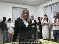 Many cocky fuckers are ready to fuck light-haired married MILF
