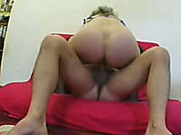 Chubby mature blonde shows her cock-riding skills to a guy