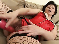 'Extremely hot brunette mommy plays with dildo and blows hard dick