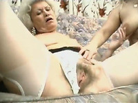Busty blond lesbian licks hot smelly pussy of her old hungry kooky