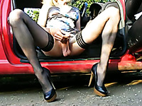 Dressed up like a luxurious hooker and masturbated in my car
