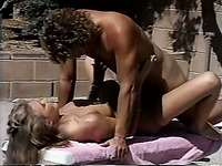 Alluring blonde bitch fucks a horny man in the pool