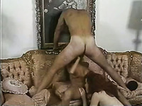 Two desirable ladies suck one hard cock together in FFM 3some