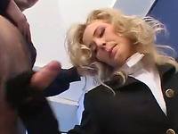 Blonde hussy wearing gloves favours a man with a nice handjob