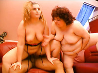 FFM threesome scene with two amateur fatties sharing a hard cock