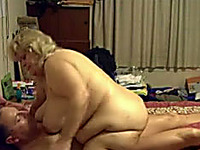 Horny fat woman riding that massive cock of her new friend