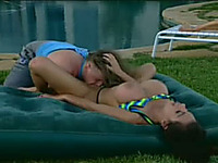 Hot pool party goes out of control and turns into a threesome fun