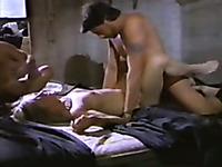 Fair-haired retro slut enjoys sex with three insatiable men