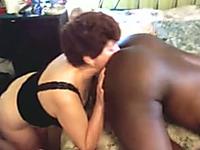 Black jerk enjoyed nice blowjob from old white lady