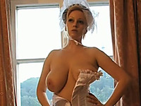 Extremely hot milf wife dresses up in her wedding dress