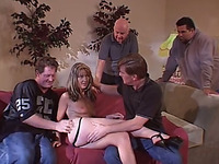 Alluring blonde bitch with well stacked body banged from behind in 3some
