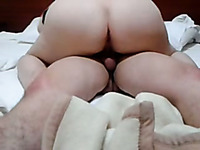 BBW pale booty wife rides me on top to make me horny