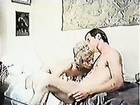 Short-haired retro mom demonstrates her cock-sucking skills