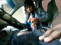 Dirty milf ebony bitch gives me head in my car on cam