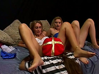 Two blonde sluts give double blowjob to a horny man