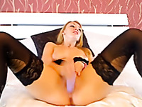 Blonde milf babe on the webcam video masturbating with a toy