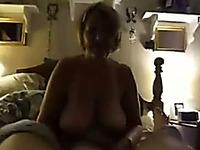 Busty blonde milf sucking my boner in hardcore POV clip