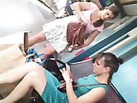 Upskirt of cute 18 yo blonde teen on escalator - hidden cam