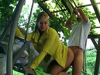 Engaging blonde Lena enjoys rear banging in the garden