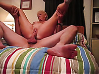 Nasty granny with shaved pink cunt rides me on top