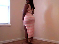 Ebony slutty chick of my friend strips and exposes her ass with titties