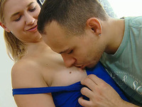 Happy blonde Russian girl lets this guy take off her panties
