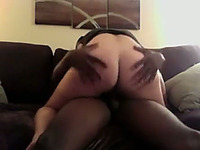 Takes that ebony large cock in her sexy and small mouth