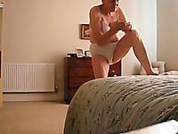72 years old grandma of my wife puts on pants on spy cam