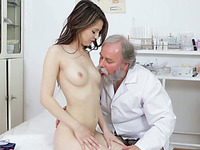 Old and fat perverted doc loved to get his cock blown by young hottie