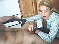 Amateur blonde chick sucks my buddy's wang in homemade clip