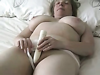 My plump wife with saggy breasts loves masturbating in front of a camera