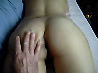 Playing with perfect booty of my white young girlfriend