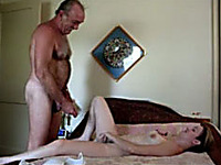 White young hussy likes to please old flabby dudes