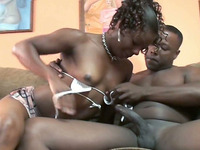 Fine ebony slut gave an awesome blowjob to her new lover in her room