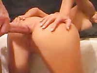 Balls deep anal sex and deepthroat blowjob with my lusty blonde wife